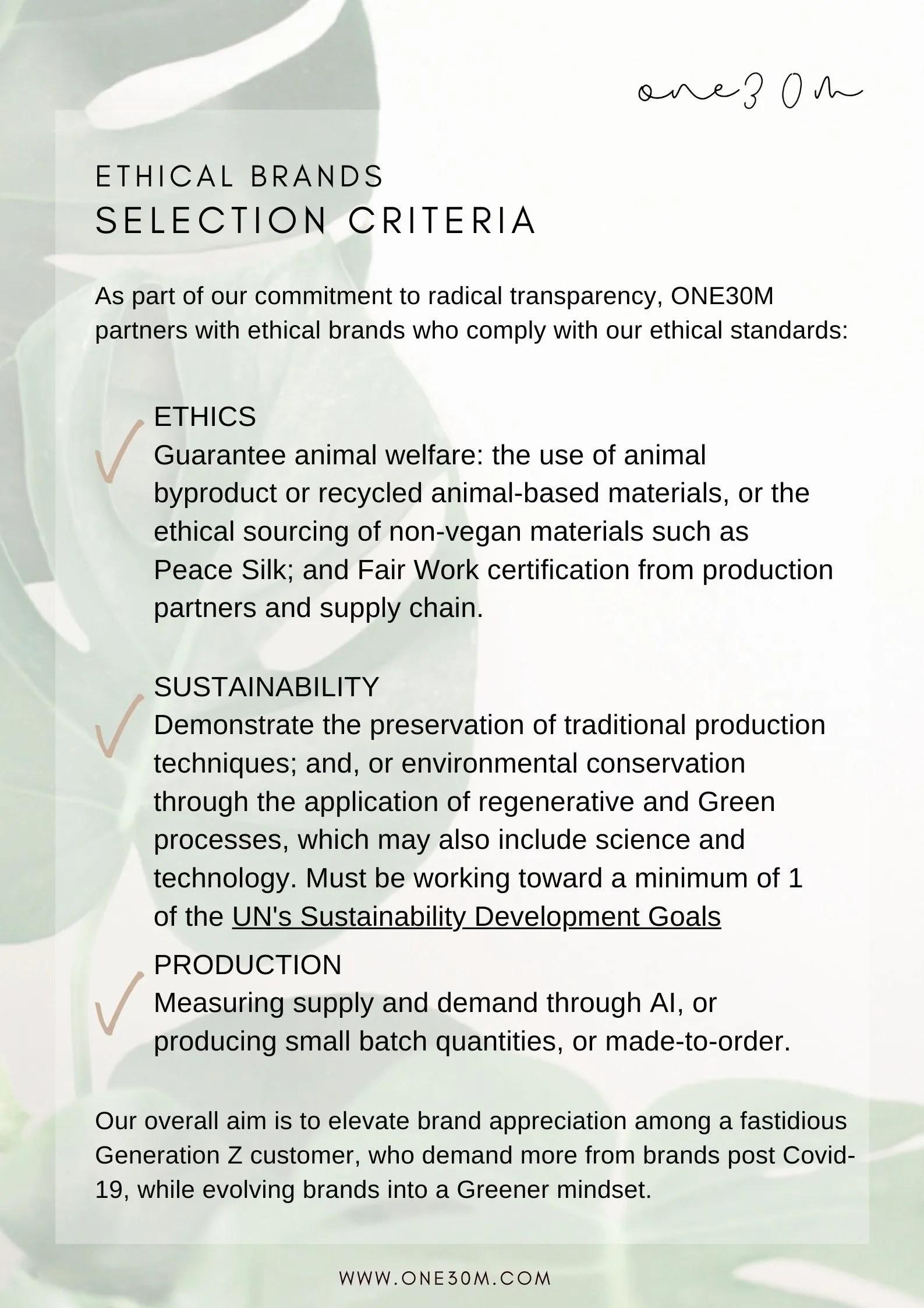 ONE30M Brand Selection Criteria