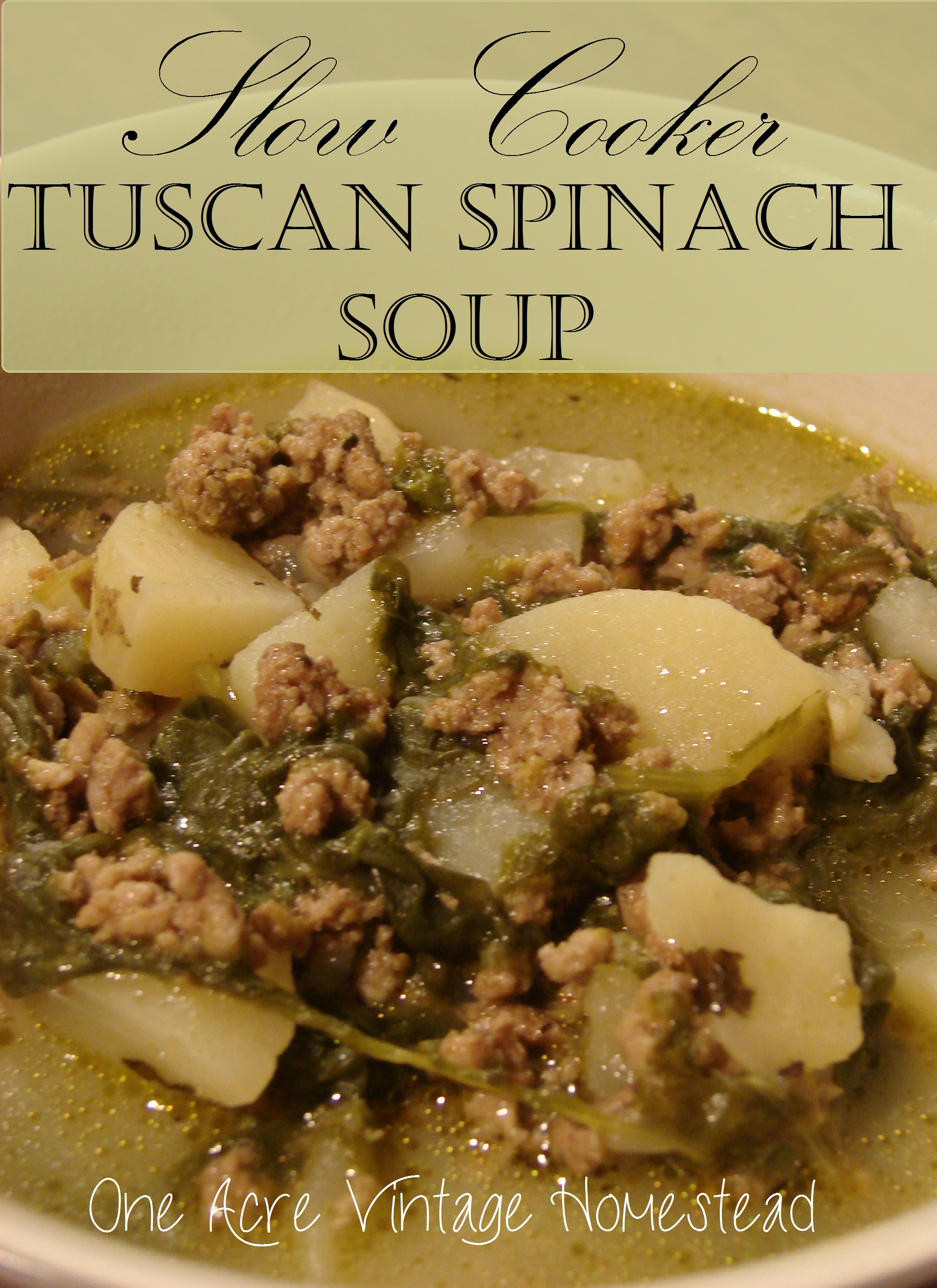 Slow Cooker Tuscan Spinach Soup - One Acre Vintage Homestead Recipe