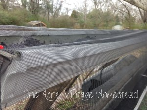 window screen attached to gutter gardens