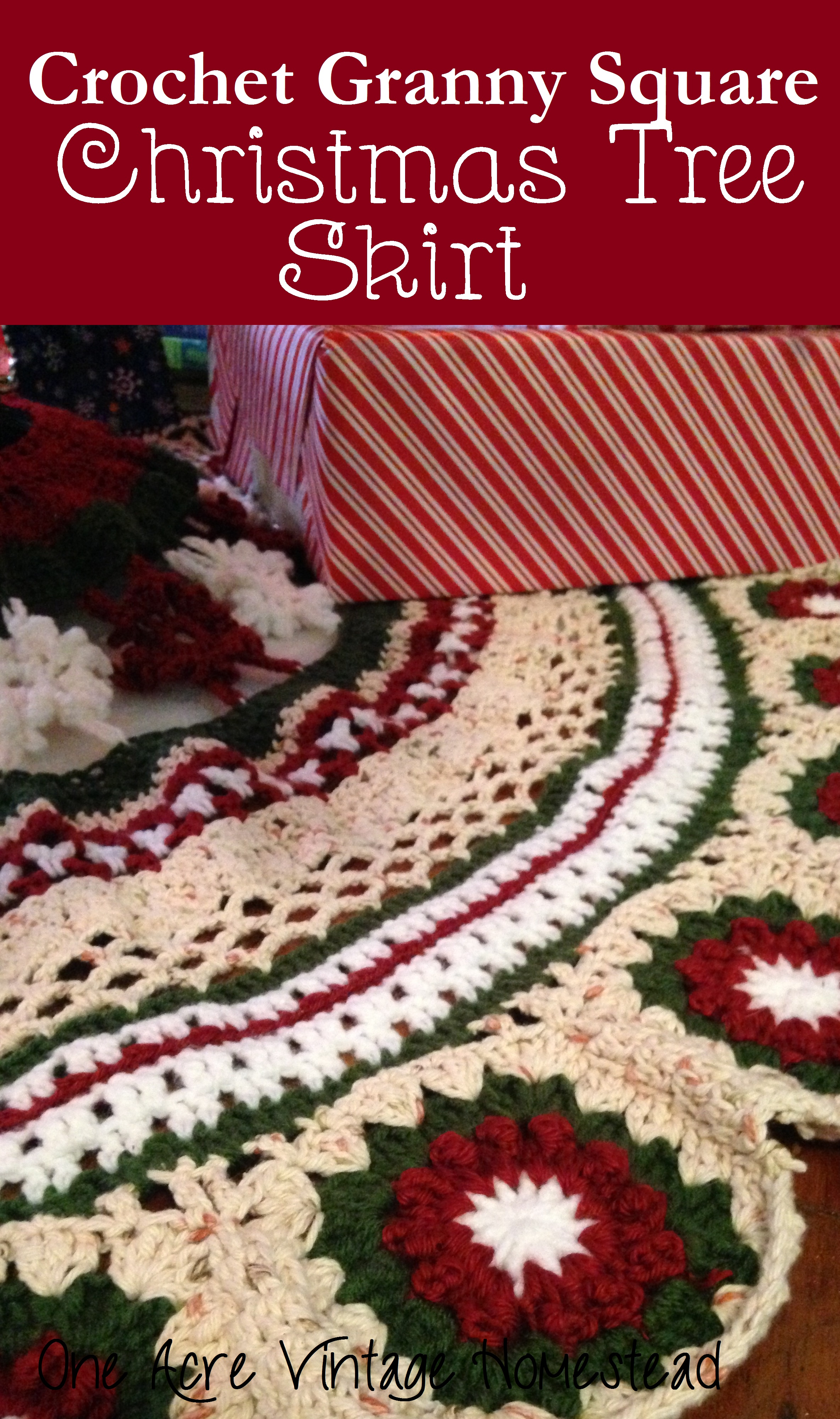 Crochet granny square christmas tree skirt ⋆ one acre