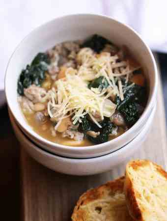 SAUSAGE & KALE SOUP WITH WHITE BEANS