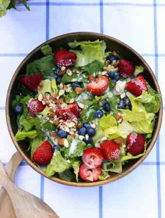 RED, WHITE, AND BLUE BERRY SALAD WITH CREAMY LEMON DRESSING
