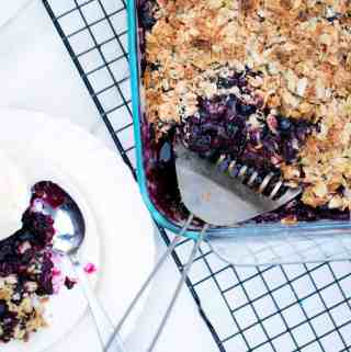 Blueberry Lemon Crisp with Almonds gluten free quick seasonal dessert pie cobbler