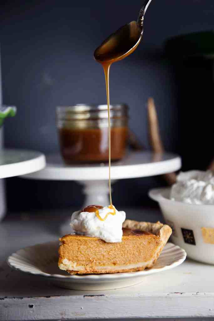 Fall Wine and Pie Party pumpkin pie with homemade whipped cream and caramel drizzle Fall Thanksgiving dessert table pie bar #TurkeyDayTips #CollectiveBias