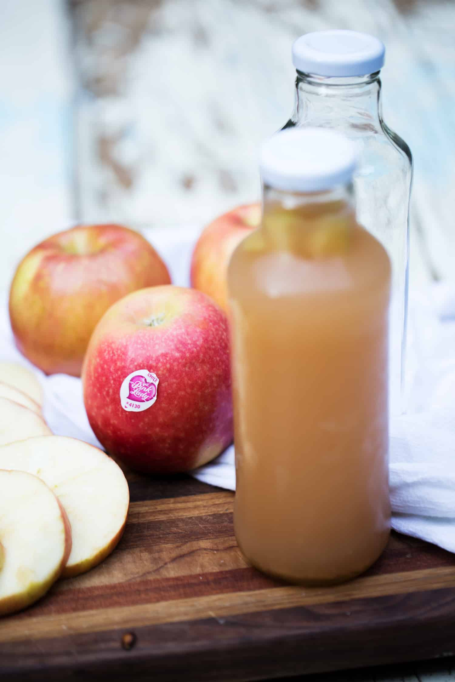 Pink Lady Apple Cider Kombucha made with in season apples and fresh pressed cider, is an absolutely delicious way to enjoy this fizzy probiotic rich beverage.