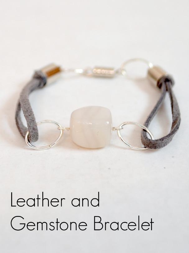 Easy DIY Stacking Bracelets Leather And Gemstone Bracelet