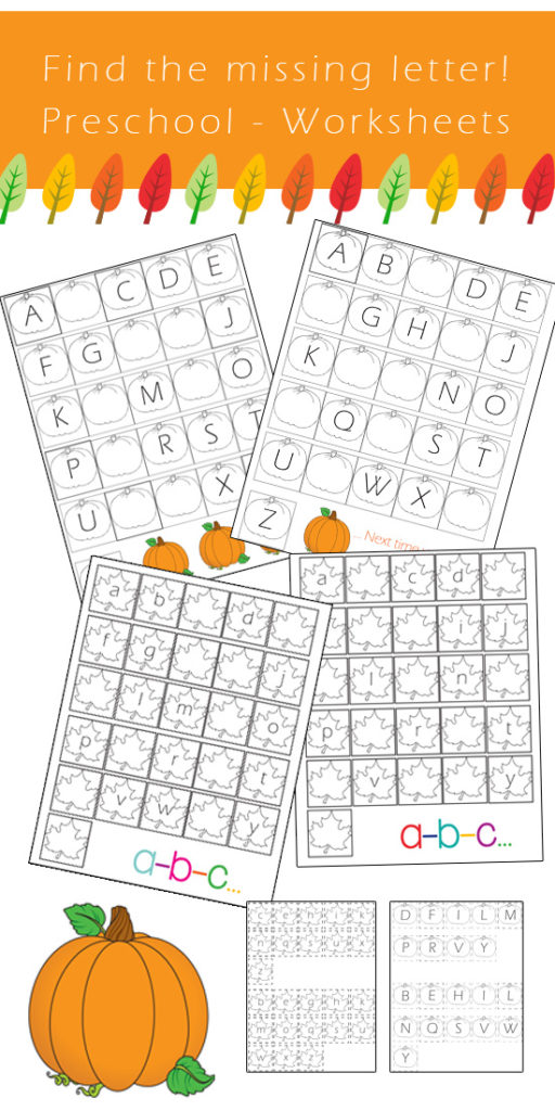 Preschool Alphabet Worksheets Find the missing letter Fall Edition  One Beautiful Home