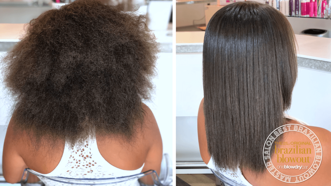 oneblowdrybar Brazilian blowout treatment before and after on African American hair
