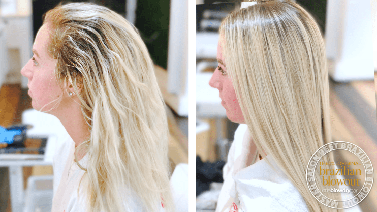 oneblowdrybar Brazilian blowout before and after on blonde hair