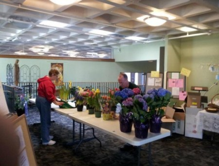 Easter Flowers being arranged for church