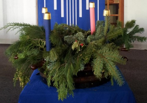 Advent Wreath with Blue Advent Banners