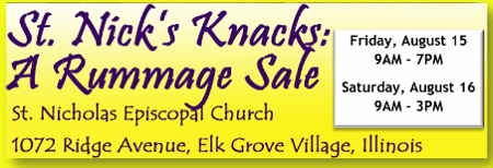 St Nick's Knacks Rummage Sale August 15-16