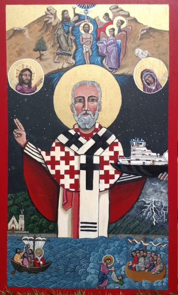 St Nicholas of Myra, by Kelly Latimore, icon at Grace Church, Pomeroy OH