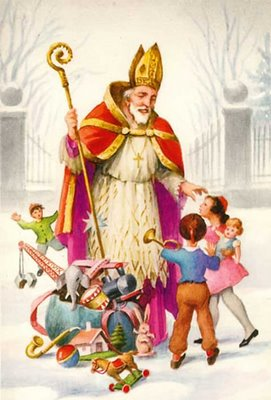 St Nicholas giving children gifts