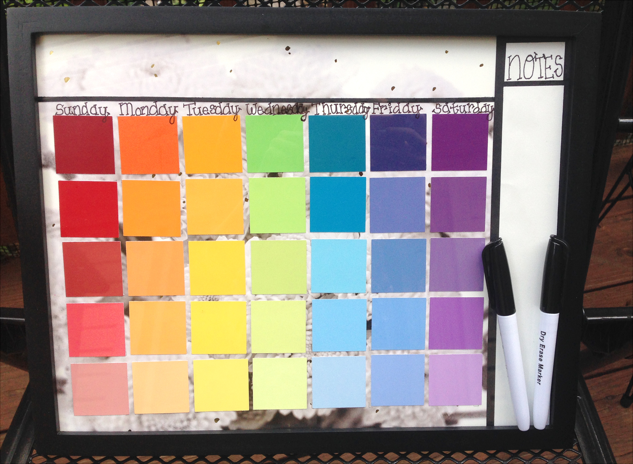 Diy Calendar With Paint Samples : Diy dry erase calendar with paint samples