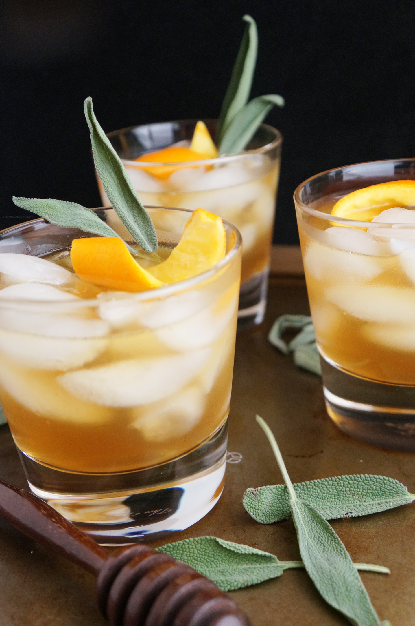 Honey Winter Bourbon Cocktail With Honey Sage Syrup One