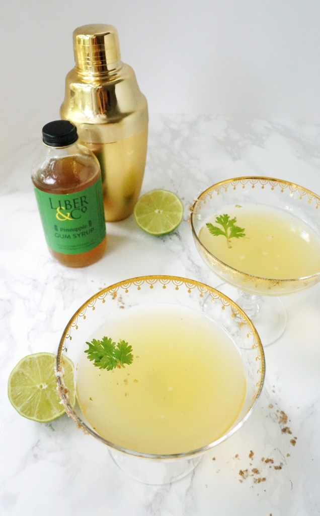 Cilantro lime Pineapple Gum Syrup Vodka Cocktail