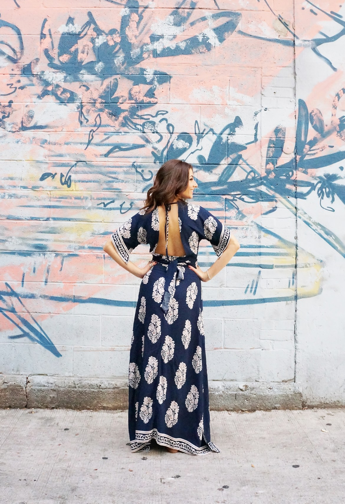 Printed Plunge Navy Kimono Wrap Dress
