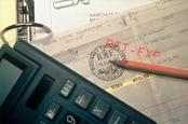 Calculator on top of checks