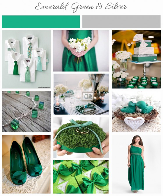 Emerald Green & Silver Inspiration Board