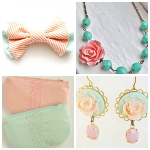 Mint and Peach Accessories