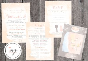 Pink and Gray Invitation Suite by Moki Gray