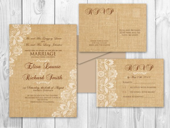 burlap and lace invitation