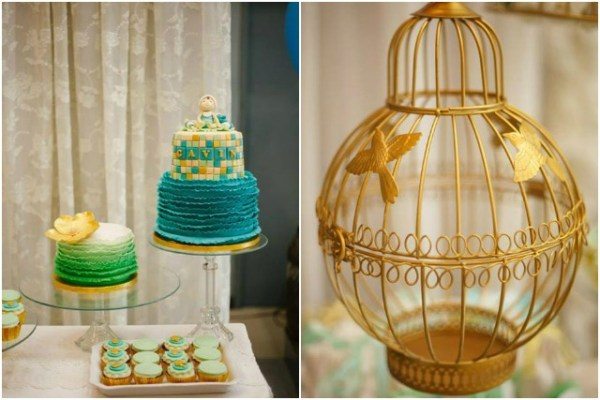 Aqua Mint And Gold Shabby Chic Themed Christening One