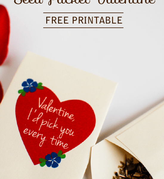 Flower Seed Valentine: Free Printable