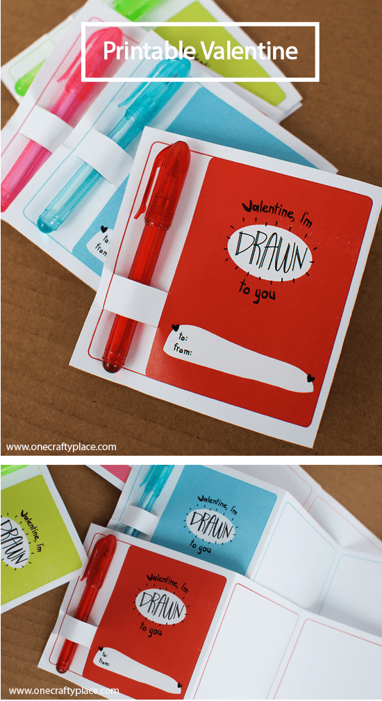 """printable valentine with """"drawn to you"""" text"""