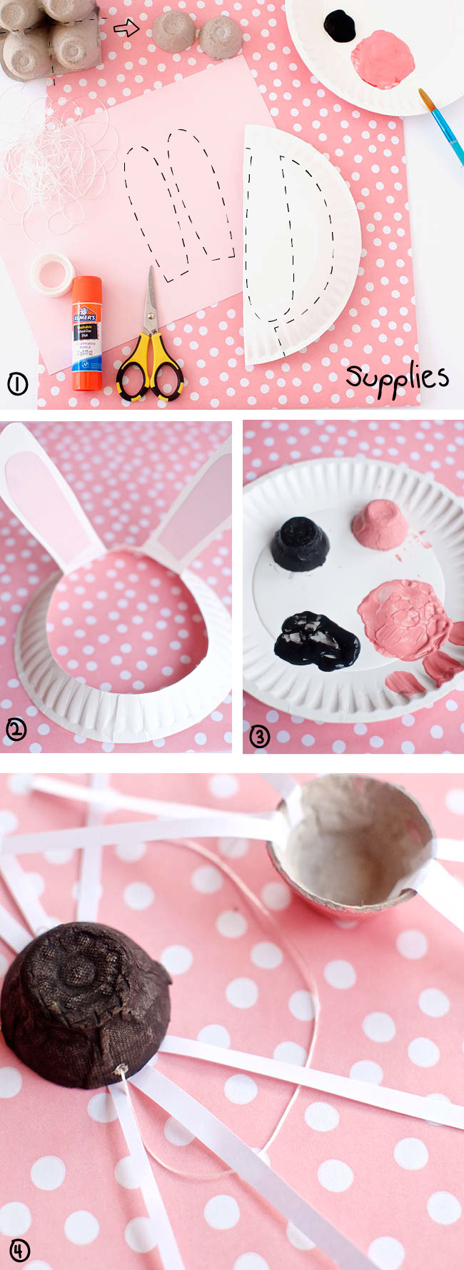 Use a paper plate and egg carton to make bunny ears and nose
