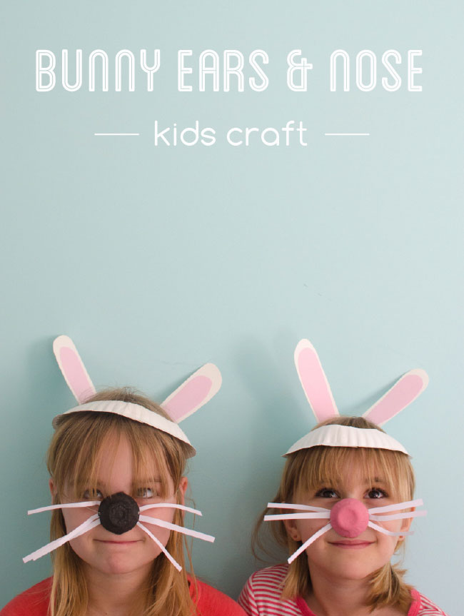 se a paper plate and egg carton to make bunny ears and nose