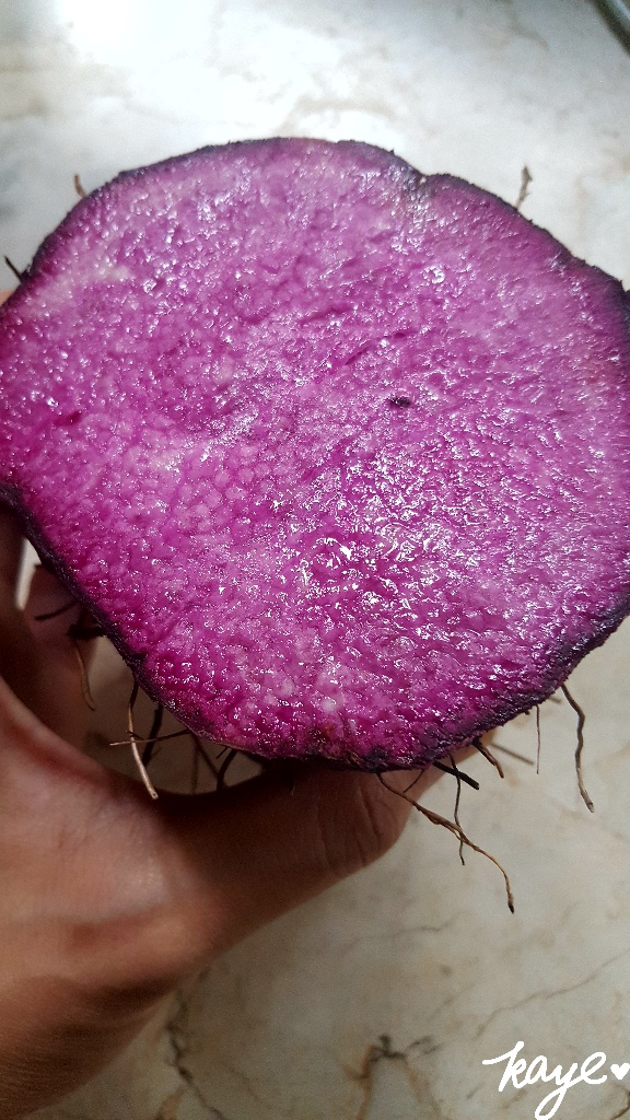 Cross-section of fresh ube crop