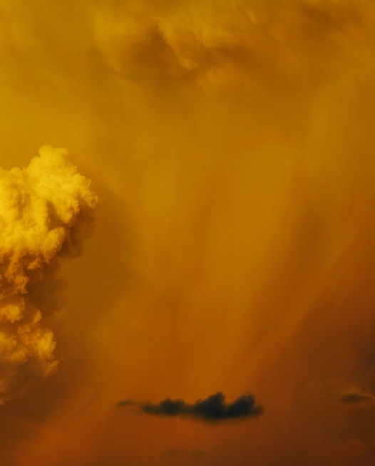 Art Print Australian Landscape in a Summer afternoon with orange and yellow clouds.