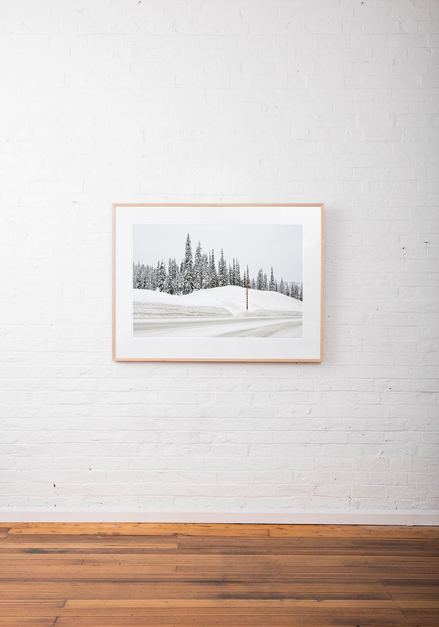 Large Photographic art print of a road with snow lined with trees taken in white Urban Landscape in Canada framed in raw timber on white wall