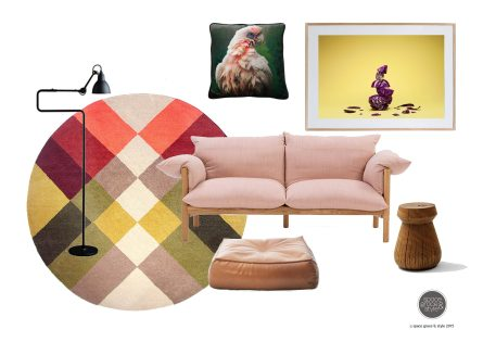 Moodboard featuring Pony Rider rug, Wilfred sofa, Stanley side table and Alby ottoman from Jardan and One Fine Print of cabbage - Graze IV by Mark Lobo