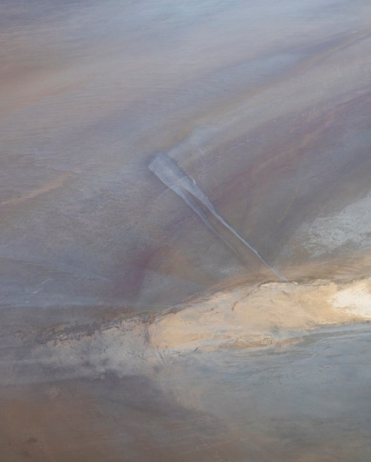 Abstract art aerial photo of inland landscape of Australia with pink, blue, grey,purple and orange colour