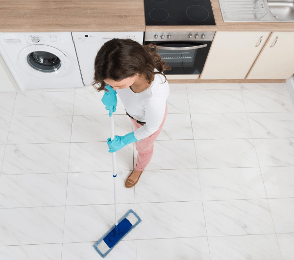 woman mopping