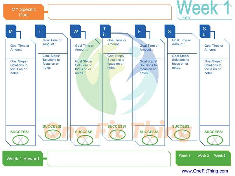 smart goal tool four week tracker one fit thing
