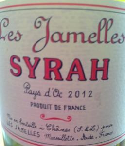 Les Jamelles Syrah 2012