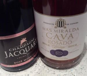 Champagne Jacquart Rosé Mosaïc NV, left, and Cava Rosado from Asda