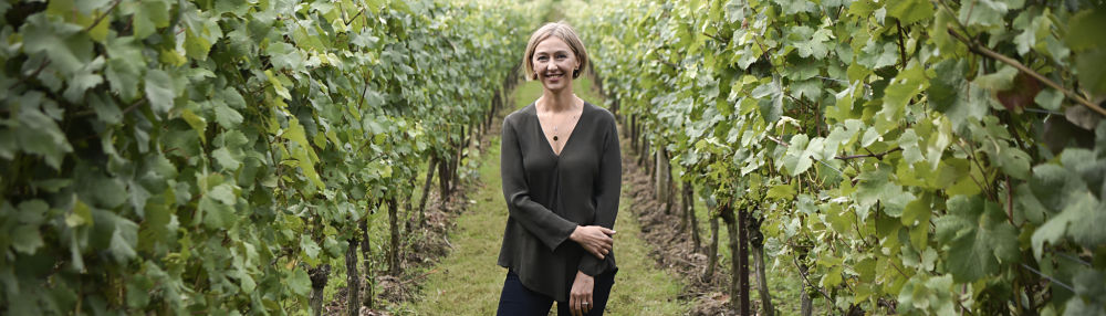 Cherie Spriggs, Head Winemaker of Nyetimber in the Nyetimber vineyard - International Women's Day