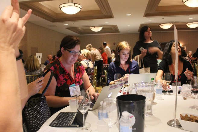 The craziness that is Live Wine Blogging.  Notice the concentration levels.