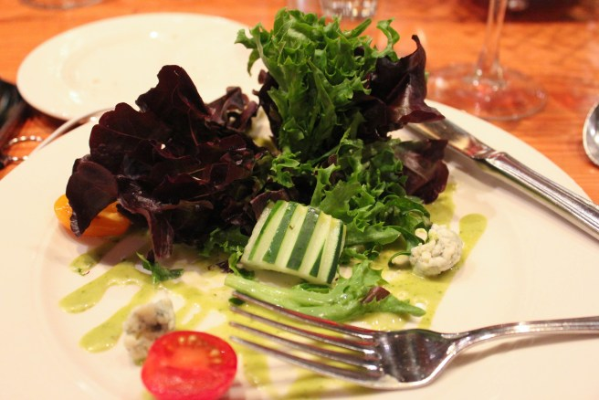 Salad Course: Cucumber of Baby Greens, Local Baby Greens, Rogue Creamery Oregon Blue Cheese, Baby Heirloom Tomatoes, Citrus Basil Vinaigrette