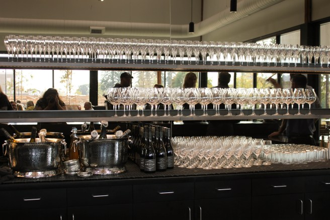 Behind the tasting bar at Argyle Wine.