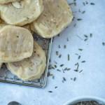 lavender shortbread cookies on corner of rack