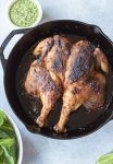 Peruvian-style roast chicken with spicy green sauce