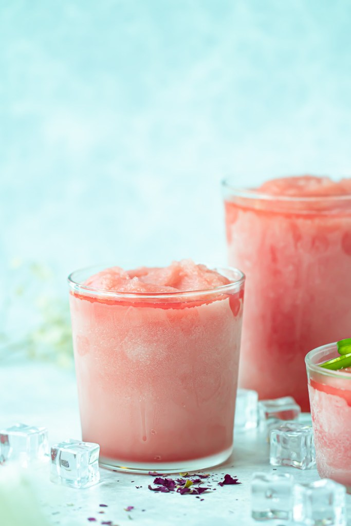 glass of spicy watermelon frose