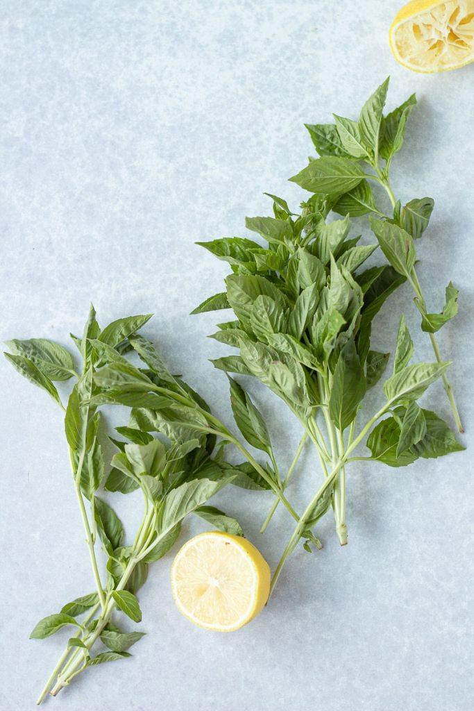 basil and lemon