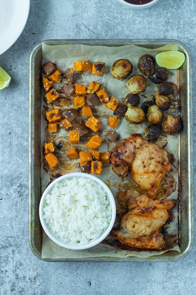 roasted vegetables and chicken sheet pan with rice